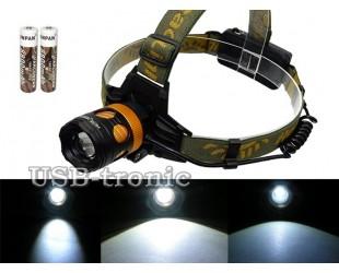Мощный светодиодный фонарь налобный аккумуляторный YT-K13-T6 ZOOM с 2 аккумуляторами 18650
