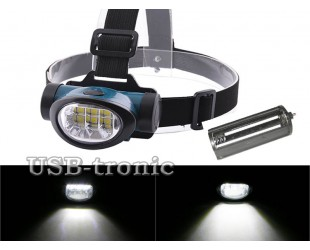 Налобный светодиодный фонарик 603-6 с 3 батарейками 1,5B АAA Цена 199 рублей