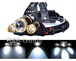 Фонарь аккумуляторный налобный HL-006-T6 Zoom 3 светодиода Cree T6 2 аккумулятора 18650