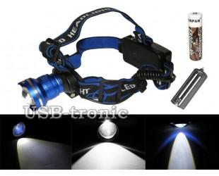Налобный фонарь JIN-MX-T07 с универсальным питанием 1 аккумулятор 18650 или от 3 батареек ААА