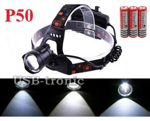 Мощный налобный фонарь JIN-219-P50 светодиод XHP 50 аккумуляторы 3x18650