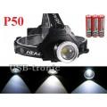 Мощный налобный фонарь T50 светодиод P50 3x18650
