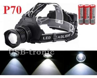 Мощный аккумуляторный налобный фонарь T70 светодиод XH P70 аккумуляторы 3x18650