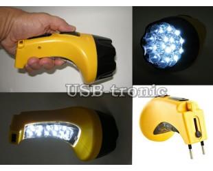 Ручной фонарь 15 LED с выдвижной вилкой для зарядки и боковой панелью 10 LED LY 826-B