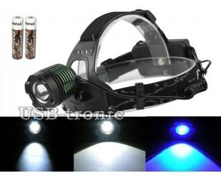 Налобный фонарь YYC-2188-2 ZOOM с синим светом 2 аккумулятора