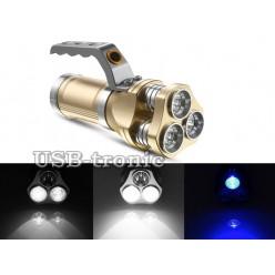 Ручной аккумуляторный фонарь прожектор HL-633 Белый и синий свет