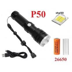 Ручной фонарь со светодиодом XHP50 Огонь H-659-P50 аккумулятор 1 x 26650