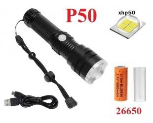 Мощный ручной фонарь Огонь со светодиодом XHP50 H-659-P50 аккумулятор 26650