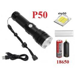 Ручной фонарь Огонь H-698-P50 аккумулятор 1x18650