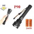 Ручной фонарь со светодиодом XHP90 H-783-P90 датчик зарядки 2х26650