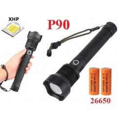 Ручной фонарь со светодиодом XHP90 YYC-6004-P90 аккумуляторы 2 шт 26650