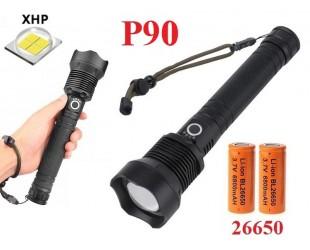 Pучной фонарь со светодиодом XHP90 YYC-6004-P90 аккумуляторы 2 шт 26650