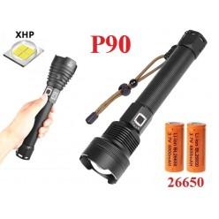 Ручной фонарь со светодиодом XHP90 YYC-6005-P90 датчик зарядки 2х26650