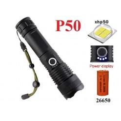Мощный ручной фонарь H-631-P50 аккумулятор 26650