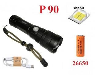 Мощный ручной фонарь YYC-8970-P90 светодиод XHP-90 аккумулятор 26650