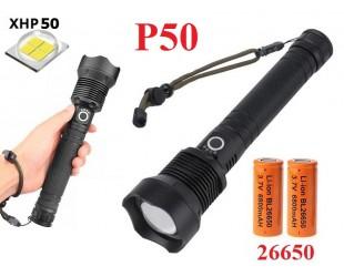 Мощный ручной фонарь со светодиодом XHP50 Огонь H-632-P50 аккумуляторы 2 x 26650