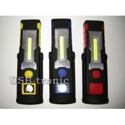 Переносной автомобильный фонарик с магнитом COB + LED питание 3 х AAA