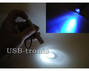 Светодиодный карманный фонарик с белым и синим светом на батарейке ААА