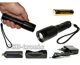 Ручной аккумуляторный фонарик YT-7007 светодиод Cree T6 1 x 18560 Металлический корпус