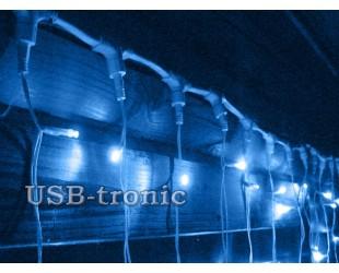 Гирлянда уличный занавес Синий дождь 2х2 метра Белые нитки отсоединяются