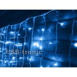 Гирлянда уличный занавес Синий дождь 2х2 метра 12 шт Белые нитки