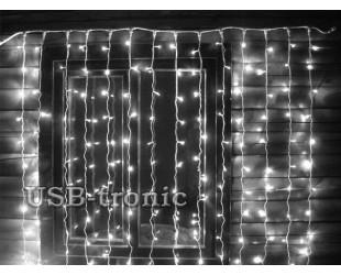 Гирлянда уличная Белый светодиодный занавес 3 на 3 Холодный белый свет 16 шт 640 LED Белые нитки отсоединяются