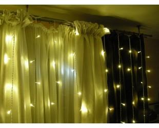 Гирлянда занавес Желтая световая штора 3х3 м 30 шт холодный белый свет Прозрачные нитки