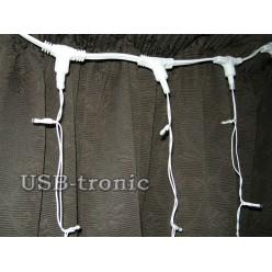 Гирлянда занавес Белый дождь 3 на 3 метра 20 шт Белые нитки