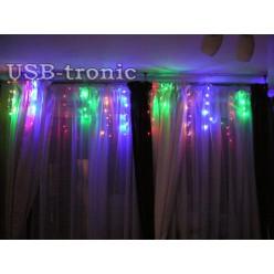 "Гирлянда MC ""Бахрома 20-30 см"" 100 LED Цветная  Прозрачный провод 2,5 метра"
