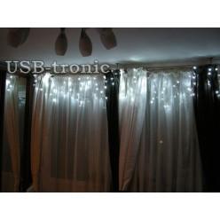 Гирлянда Белая бахрома 20-30 см 100 LED Белый свет Прозрачный провод 2,5 метра