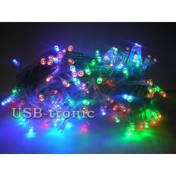 Гирлянда нить на елку 300 LED Многоцветная Прозрачный провод 10 метров