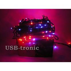 Гирлянда елочная светодиодная 300 LED Многоцветная черный провод 10 метров