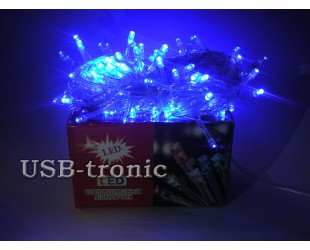 Светодиодная синяя гирлянда Neon 300 Led.  Белый провод