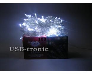 Новогодняя гирлянда для елки 100 LED - белые светодиоды