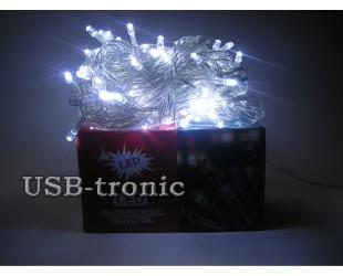 Елочная гирлянда светодиодная нить 300 LED 10 метров Белые огни