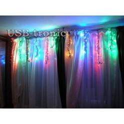 Гирлянда Бахрома 3 метра 20-45 см Фейерверк 240 LED цветных огней с эффектом мерцания