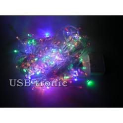 Гирлянда нить на елку 500 LED Цветные светодиоды Прозрачный провод 25 метров