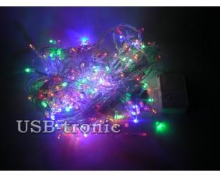 Новогодняя гирлянда нить 25 метров 500 LED Цветные светодиоды Прозрачный провод