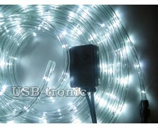 Новогодняя уличная гирлянда Дюралайт в прозрачной трубке - 10 метров Ярко белый свет