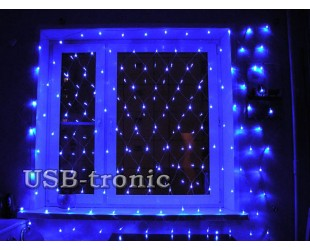 "Светодиодная гирлянда на стену ""Сетка"" синяя 1,5 х 1,5 метра"