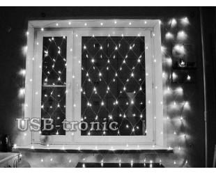 """Светодиодная гирлянда """"Сетка"""" белая 2,0 х 2,0 метра Прозрачные нитки"""