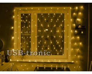 Светодиодная гирлянда на окно Сетка Желтая 1,5 х 1,5 метра