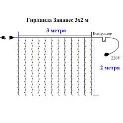 Гирлянда Занавес Штора 3 на 2 метра Белый свет Прозрачные нитки 24 шт Winner Light
