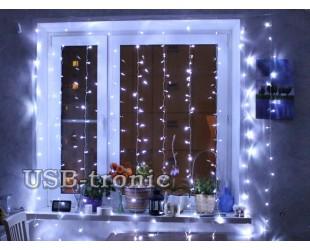 Светодиодная гирлянда на окно Белый занавес дождь 2,0 х 2,0 Прозрачные нитки 16 шт