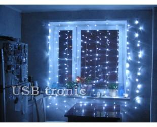 Уличная гирлянда Световой занавес 3х2 метра Холодный белый свет с миганием белых прозрачные нитки 20 шт