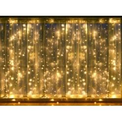 Гирлянда занавес Белая световая штора 3х3 метра Прозрачные нитки 30 шт