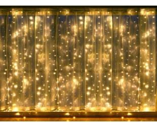 Гирлянда занавес Белая световая штора 3х3 м 30 шт холодный белый свет Прозрачные нитки