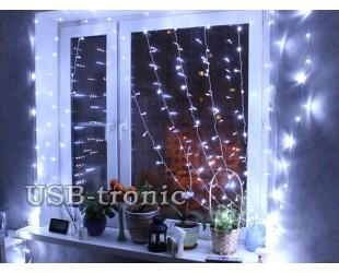 """Новогодняя гирлянда """"Белый дождь"""" световой занавес 1.5 х 1.5 метра Прозрачные нитки 8 шт"""