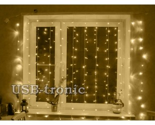 Гирлянда Занавес Желтый дождь 3.0 х 3.0 метра Теплый белый свет Прозрачные нитки 20 нитей