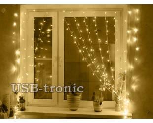 Новогодняя гирлянда теплая белая Занавеска из светодиодного дождя 1.5х1.5 метра нитки 8 шт